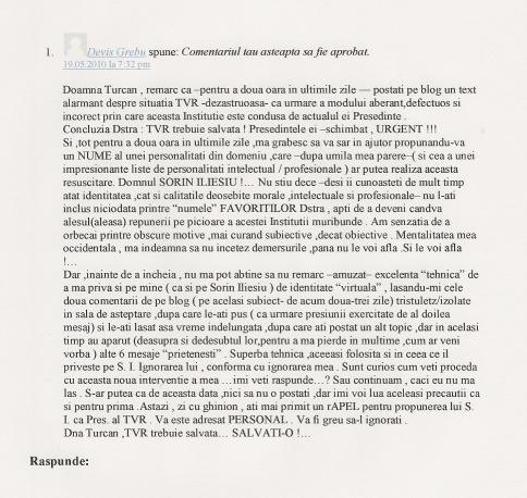 Maestro DG catre d-na Raluca Turcan