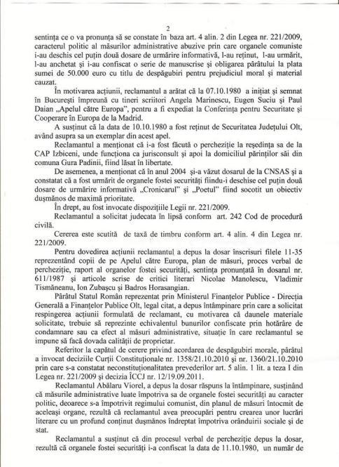 Actiunea Despagubiri - AVP, hotararea fond 002