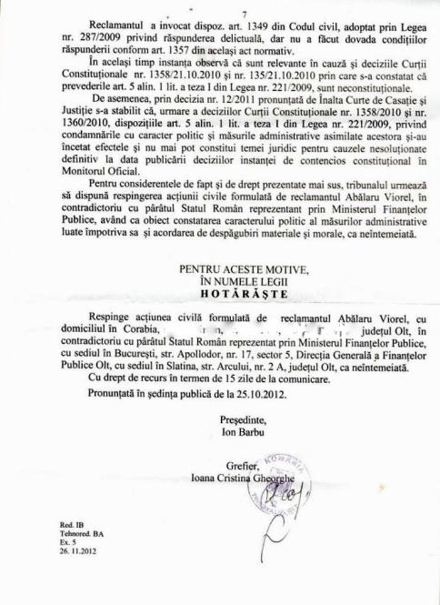 Actiunea Despagubiri - AVP, hotararea fond 007-002